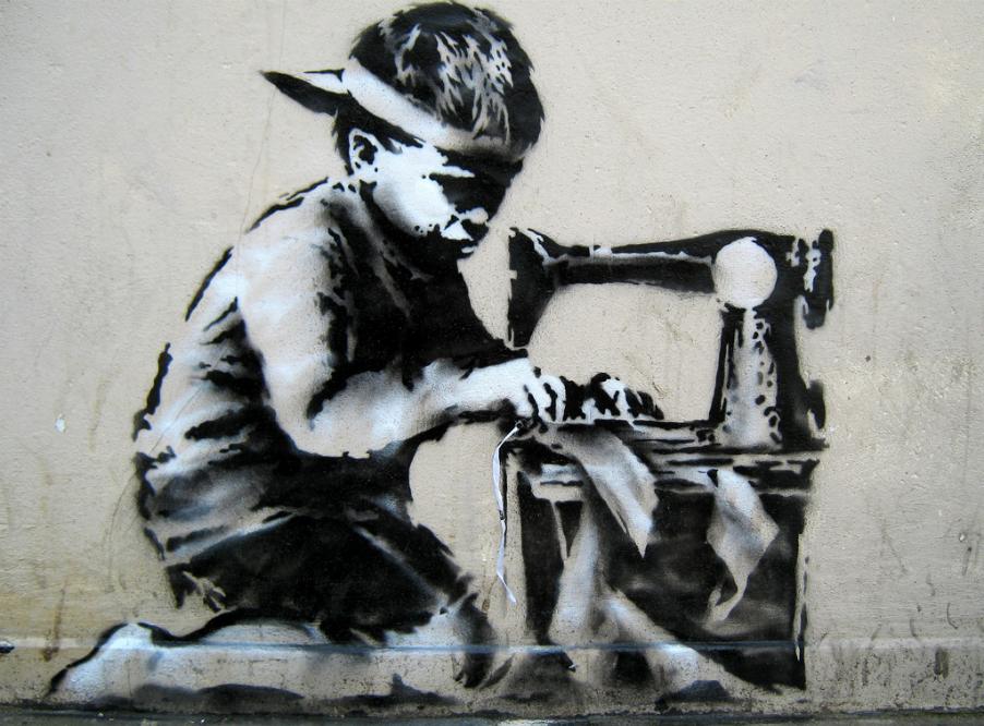 Граффити уличного художника Бэнкси «Рабский труд»